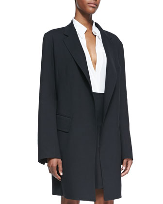 Long Gabardine Coat, Black