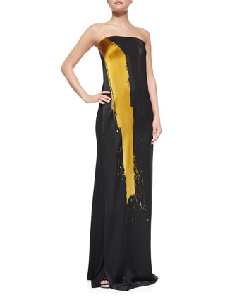 Printed Strapless Column Gown, Black/Gold