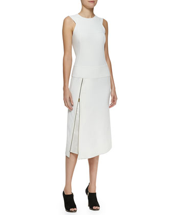Sleeveless Zip Dress with Satin Facing