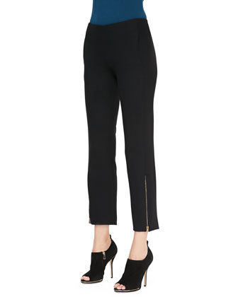 Cropped Trousers with Ankle Zip