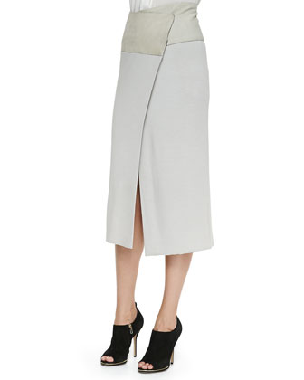 Mid-Calf Midi Wrap Skirt with Suede