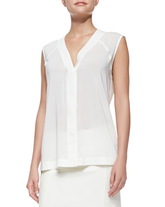 Sleeveless Sheer Stretch-Crepe Blouse