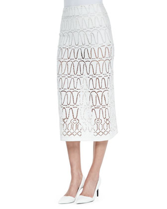 Eyelet A-Line Long Skirt