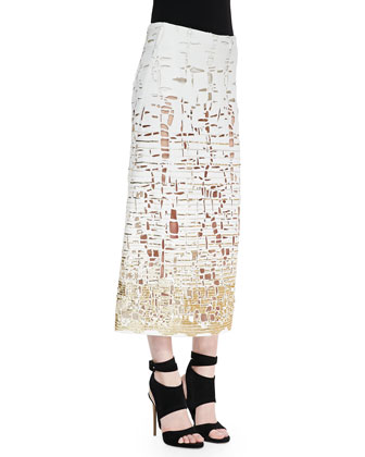 Embroidered Cutout Skirt, Ivory