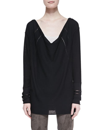 Long-Sleeve Draped Wool Top