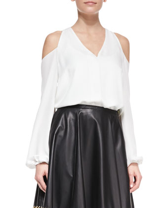 Cold-Shoulder Silk Top