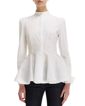 Pleated-Peplum Mandarin-Collar Cotton Blouse