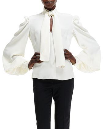 Cady Self-Scarf Puff-Sleeve Silk Blouse