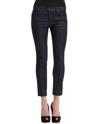 Side Contrast-Stripe Cropped Jeans