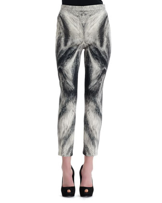 Fox Fur-Print Cropped-Ankle Pants