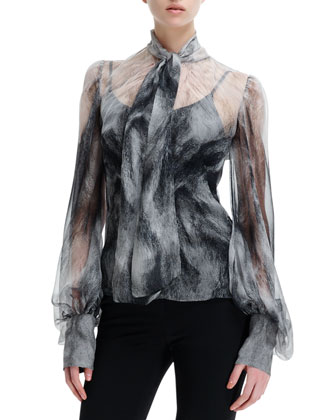 Chiffon Fox Fur-Print Long-Sleeve Blouse