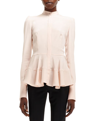 Light-Cady Mandarin-Collar Silk Shirt