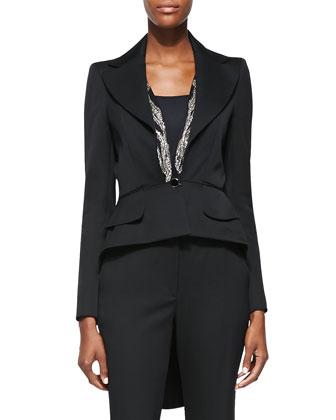 Embellished-Lapel High-Low Jacket