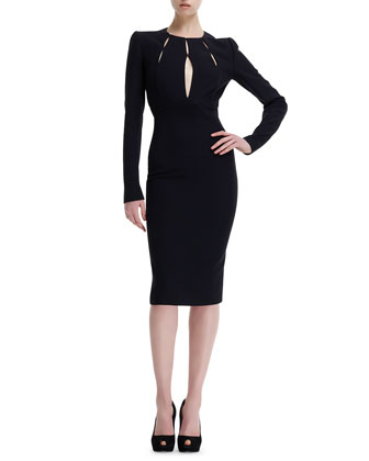Slit-Bodice Long-Sleeve Leaf Crepe Dress