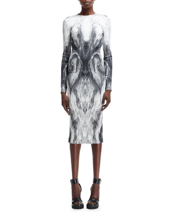 Long-Sleeve Fur-Printed Jersey Dress, White/Black