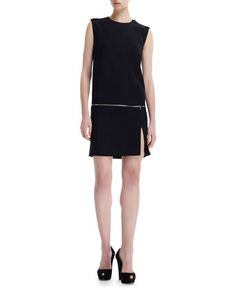 Zip-Off Detail Jewel-Neck Dress
