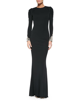 Long-Sleeve Gown with Crystal Cuffs