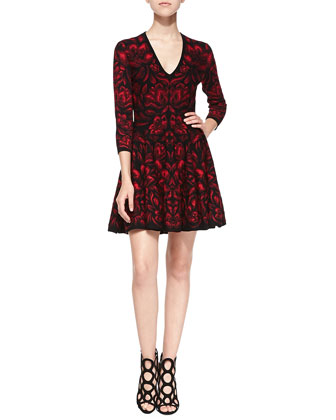 Long-Sleeve Full-Skirt Dress, Black/Red