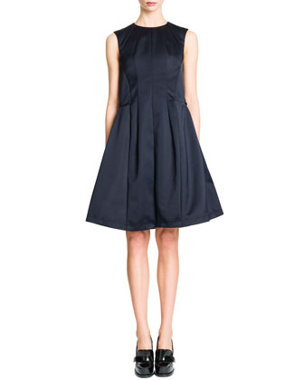 Sleeveless Vertical Seamed A-Line Dress, Navy