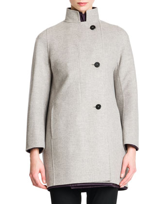 Wool/Cashmere Button-Front Coat