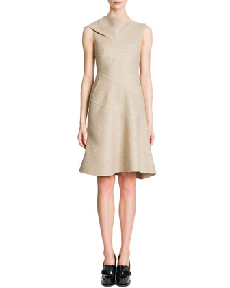Sleeveless Spiral Seam Flap Shoulder Dress, Tan