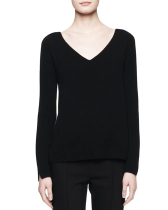 Lunette V-Neck Cashmere Top