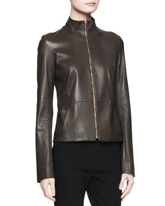 Linear Leather Zip Jacket