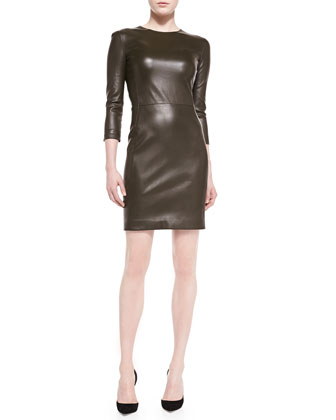 Leverton Shiny Leather Sheath Dress