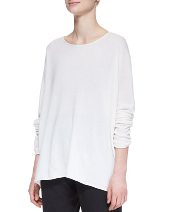 Slim-Sleeve Raw-Edge Cashmere Bateau Top, White