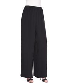 Flared Silk Trousers, Black