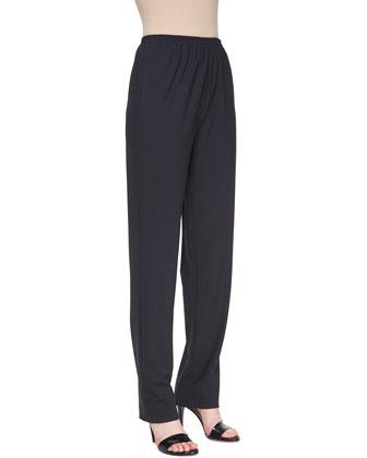 Narrow Stretch-Wool Trousers, Coal