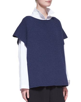 Merino Wool Knit Kaftan, Dark Jean