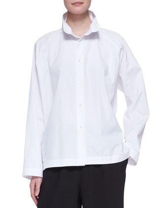 3/4-Width High-Collar Shirt, White
