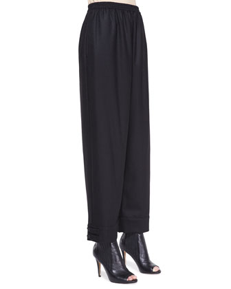 Slimmer Longer Wool Trousers, Black
