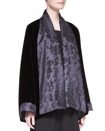 Scrunch Shawl-Collar Jacket, Black
