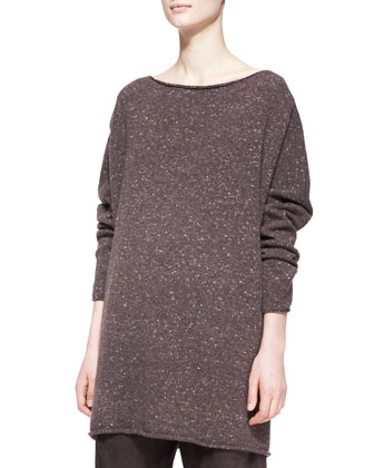 3/4-Sleeve Slash-Neck Sweater, Bison