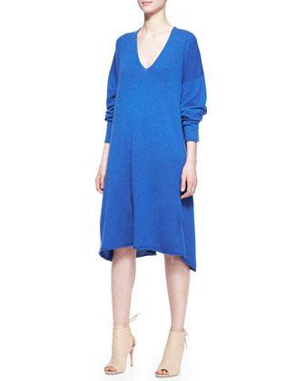 Cashmere A-Line Raw-Edge V-Neck Dress, Olympian