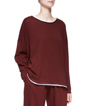 Double-Edge Scoop-Neck Top, Cochineal