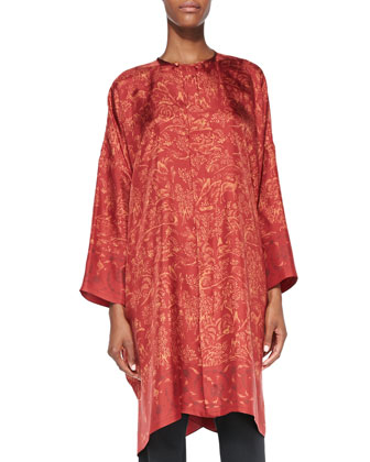 Long Wide Bound-Neck Shirt, Red