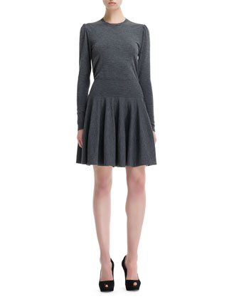 Wool Knit Dropped-Waist Long-Sleeve Dress