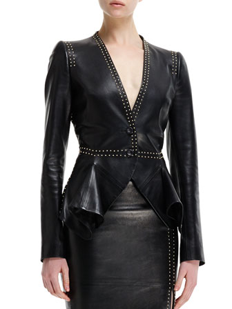 Mini-Gold Stud-Detail Leather Peplum Jacket