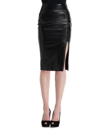 Mini-Stud Detail High-Waist Leather Skirt