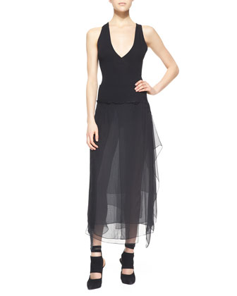 Sleeveless Sheer-Back Bodysuit, Black