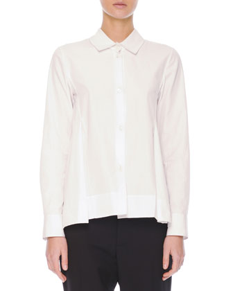 Inverted-Pleat Cotton Blouse