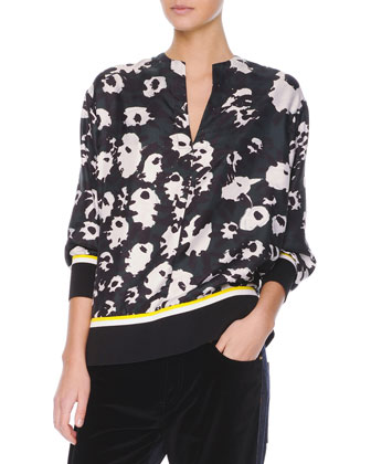 Contrast-Trim Printed Silk Blouse