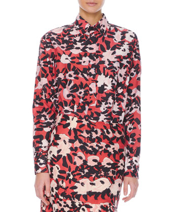 Long-Sleeve Floral-Print Chest-Pocket Blouse