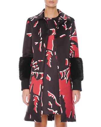 Beaver Fur-Cuffed Macro-Floral-Print Coat
