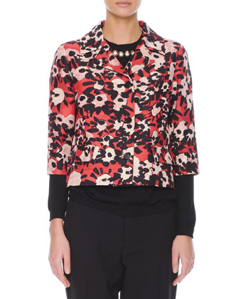 Poppy Floral-Print 3/4-Sleeve Jacket