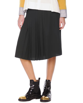 Accordion-Pleat Crepe Skirt