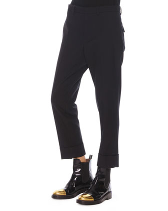 Flat-Front Cropped Wool Pants